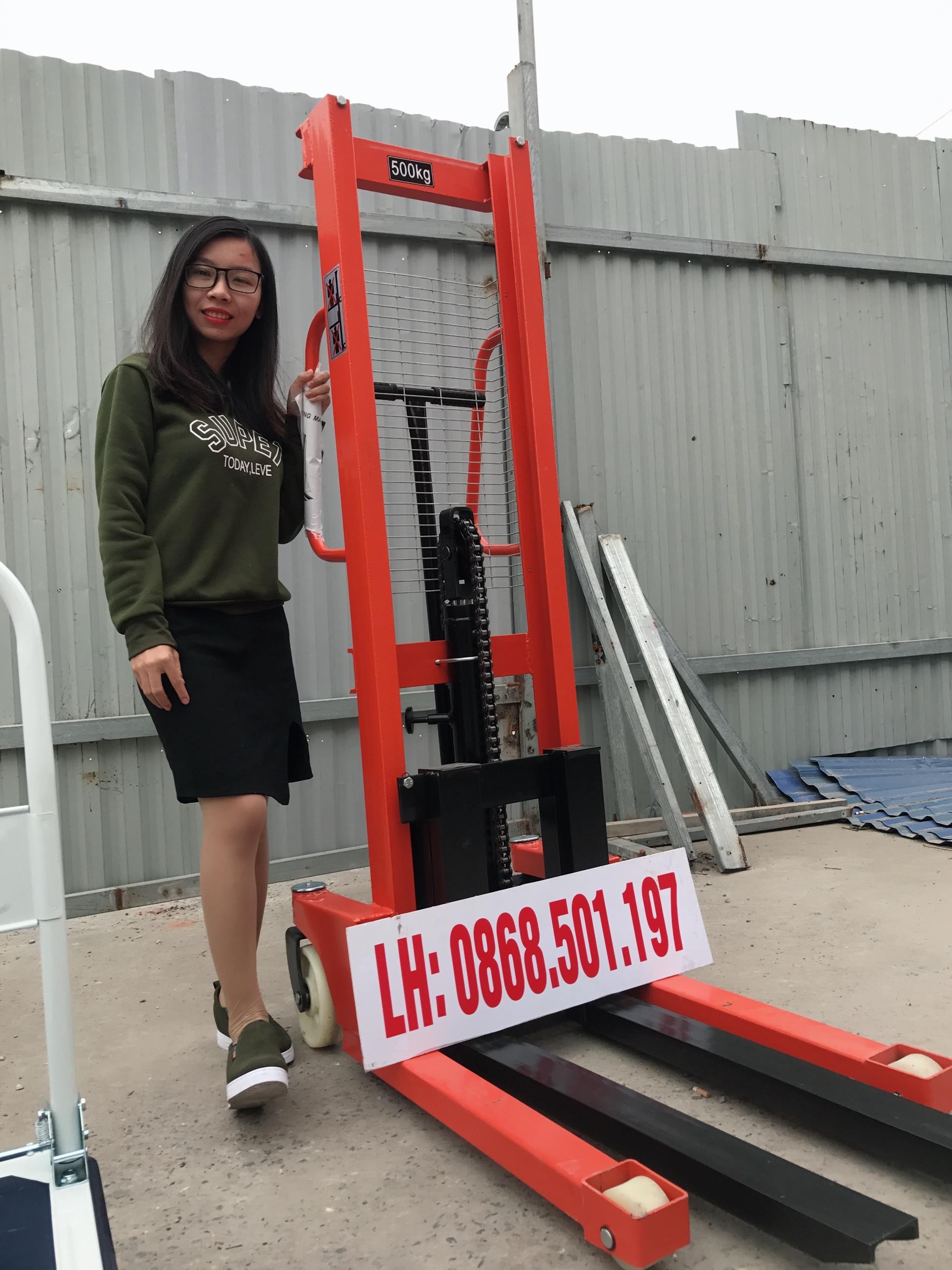 xe nâng tay cao 500kg 1 tấn